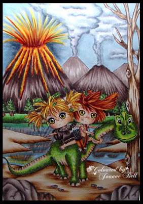 Valcanoes, Dinosaur colouring with copics - Colours and Cards