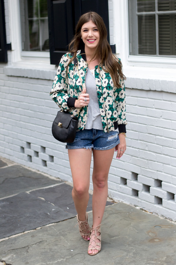 Floral Bomber Jacket by Charleston fashion blogger Kelsey of Chasing Cinderella