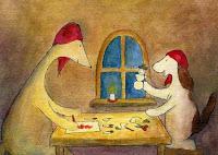 Postcard illustration of Hulmu Hukka and Haukku Spaniel doing Christmas hobby crafts