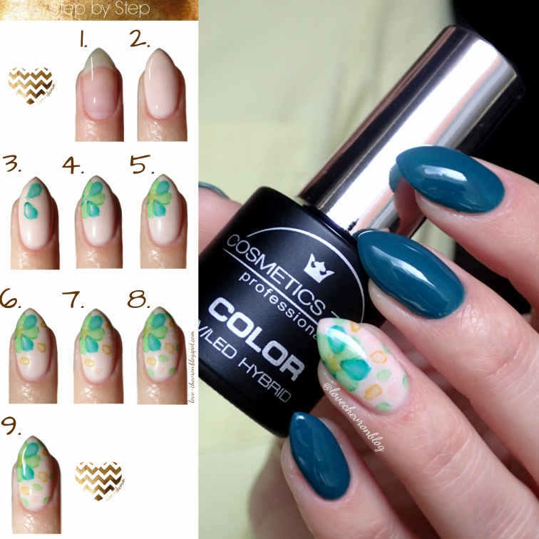 Cosmetics Zone | lakier hybrydowy | 047 Aventurine Blue | farbki akwarelowe |manicure hybrydowy | inspiracje paznokciowe | kwiaty na paznokciach | blur effect |  floral watercolor nails |  watercolor nails | watercolor flower nail art | negative space nails | step by step nails | tutorial | zdobienie krok po kroku |
