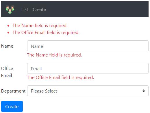 asp.net core mvc form validation