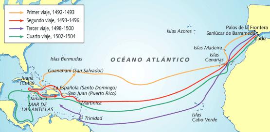 EDUCAHISTORIA: Los cuatro viajes de Cristóbal Colón a ...