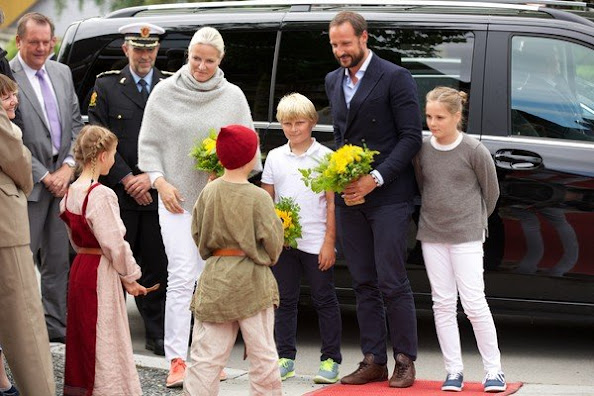 Crown Princess Mette-Marit of Norway, Crown Prince Haakon of Norway and Prince Sverre Magnus of Norway, Princess Ingrid Alexandra of Norway