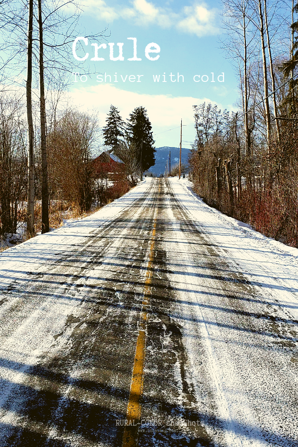 text reads crule to shiver with cold, snow covered country road www.ruralmag.com