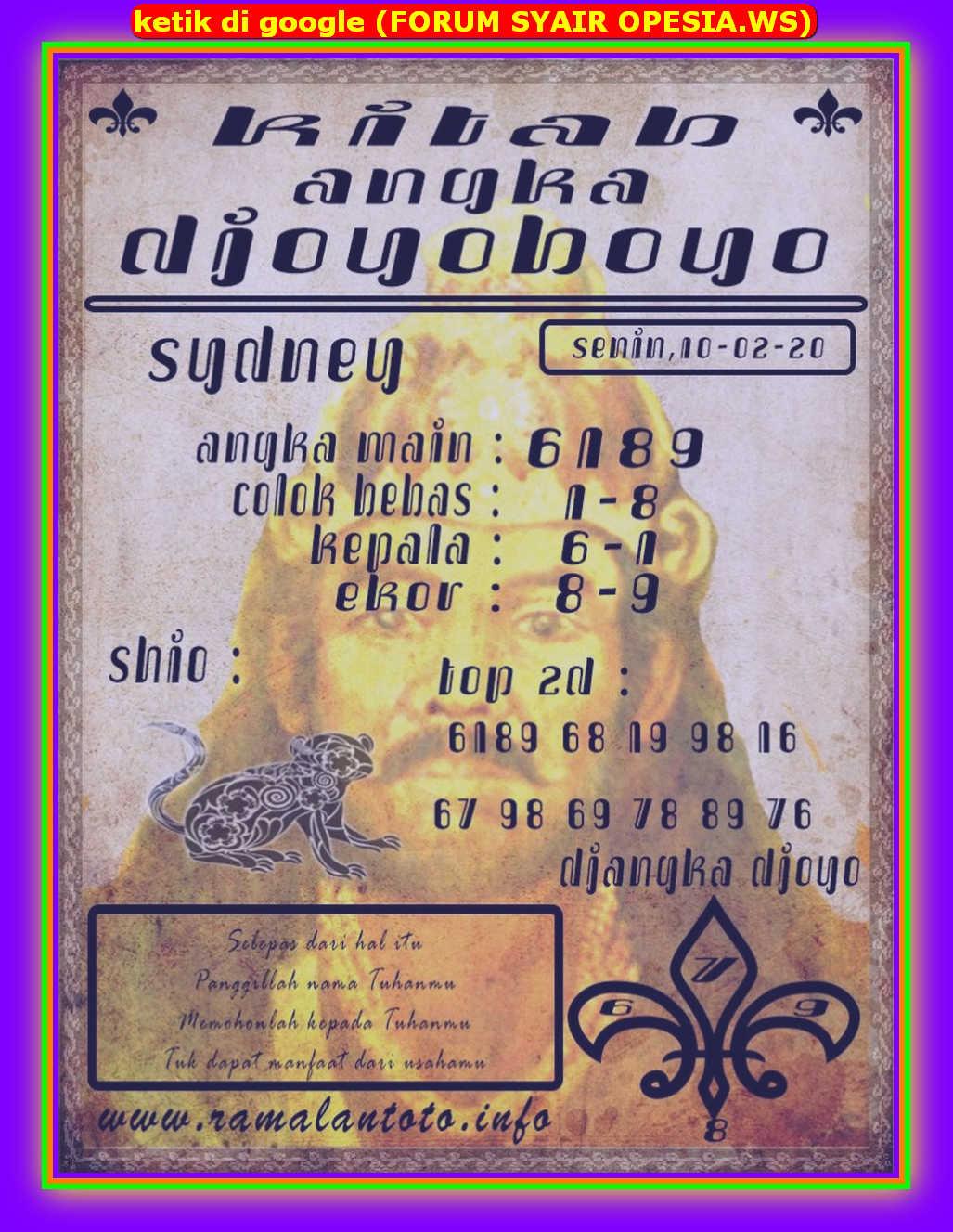 Kode syair Sydney Senin 10 Februari 2020 137