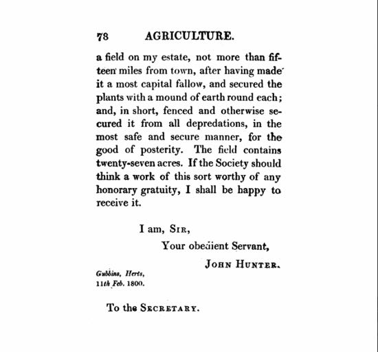 screen grab of correspondence between John Hunter and the society