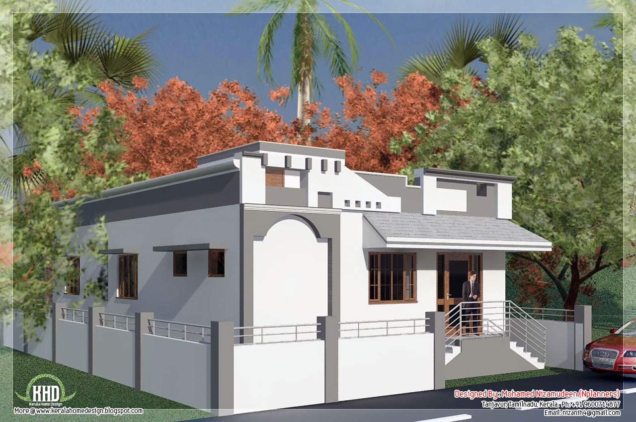 Tamilnadu style single floor house in 1092 for Single house design