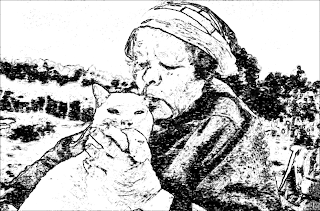 gambar lukisan seorang nenek mencium kucing