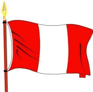 Dibujo de la bandera peruana flameando para niños
