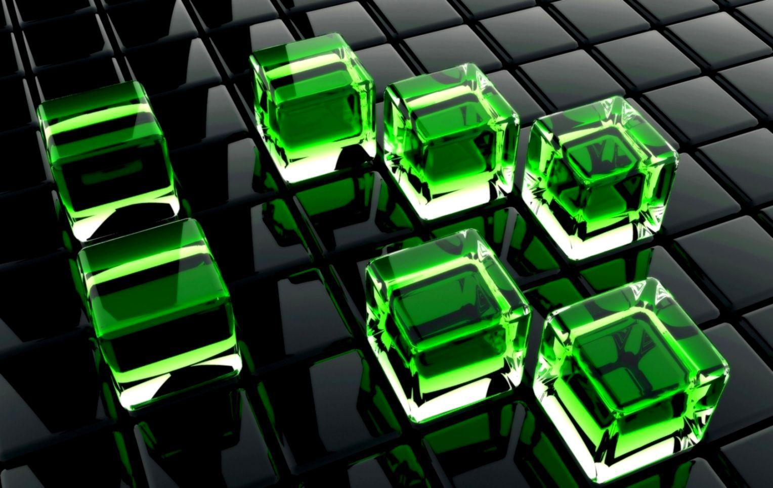 3D Green Cubes HD Wallpaper Background HD Wallpapers
