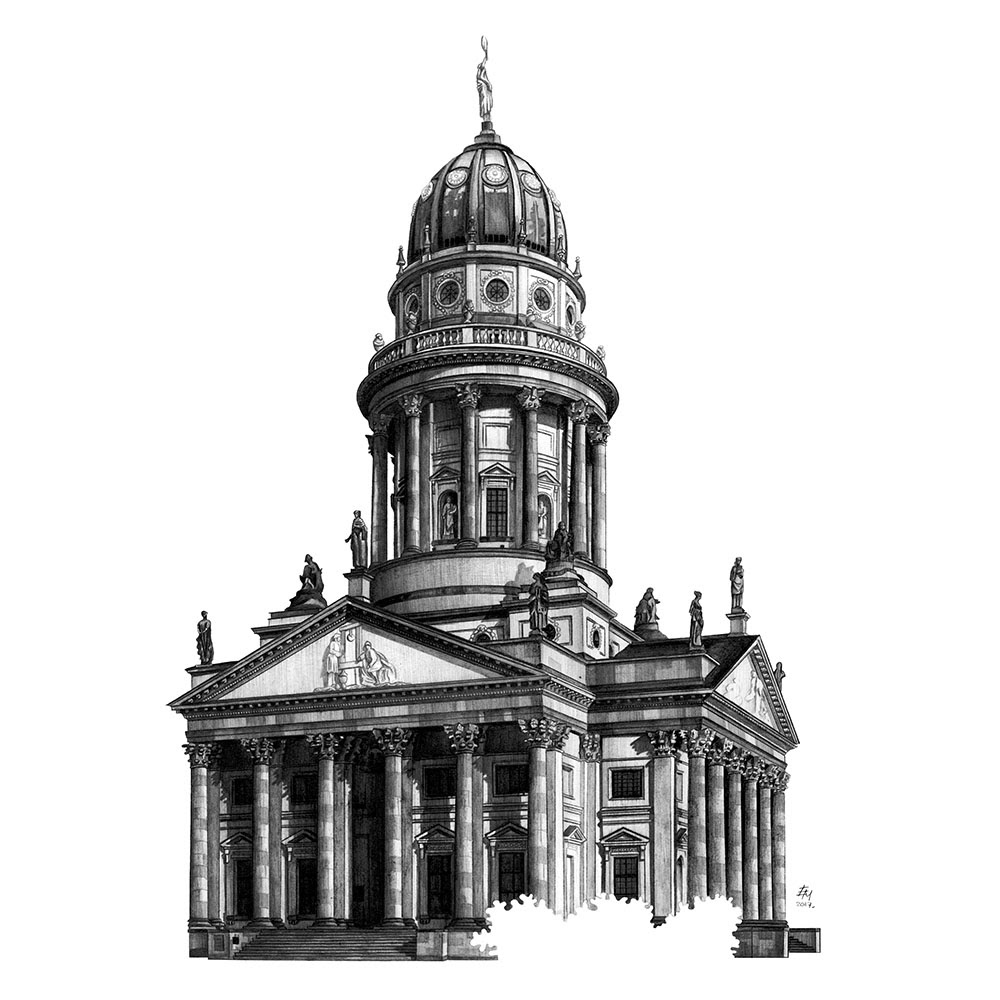13-German-Cathedral-Berlin-Germany-Elizabeth-Mishanina-Architecture-Immaculate-Drawing-Technique-www-designstack-co