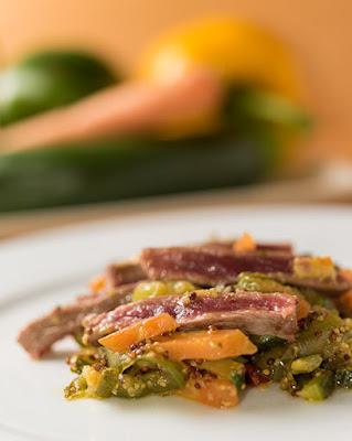 receta de un salteado de entrecot con verduras a la mostaza