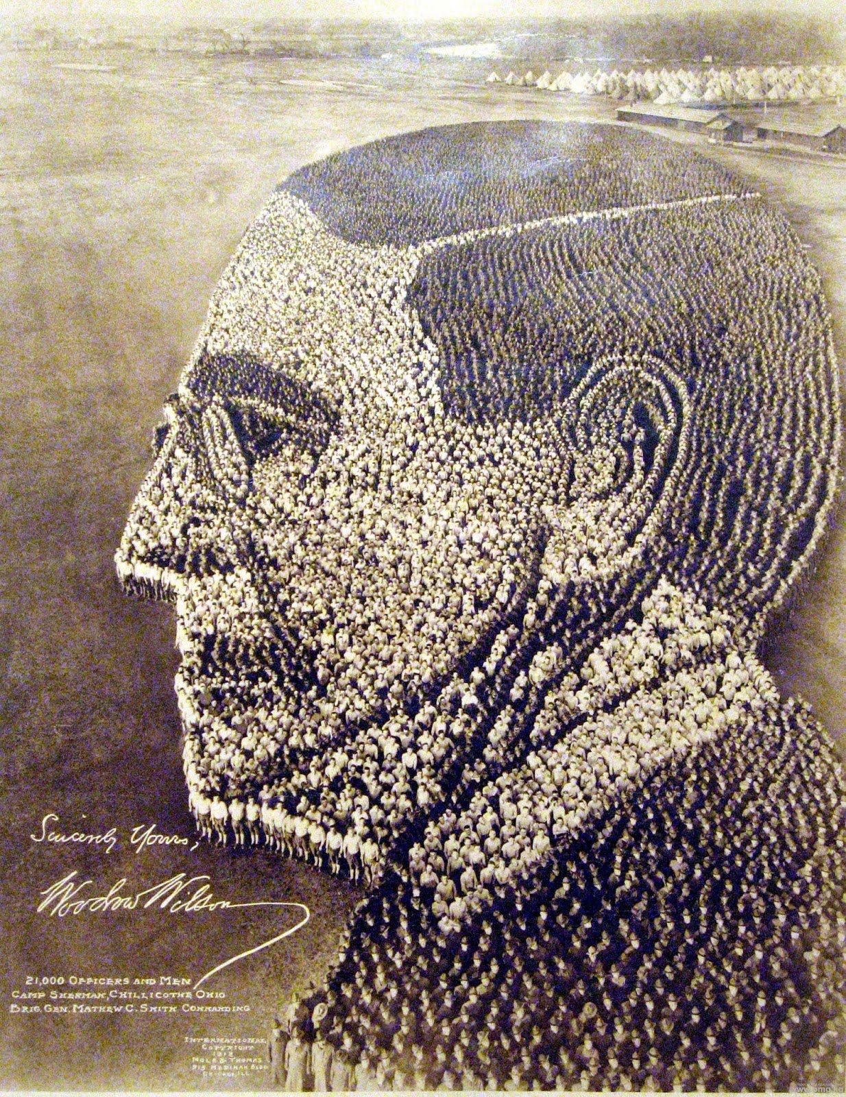 Living Portrait of Woodrow Wilson, 1918, Camp Sherman Ohio, 21,000 officers and men