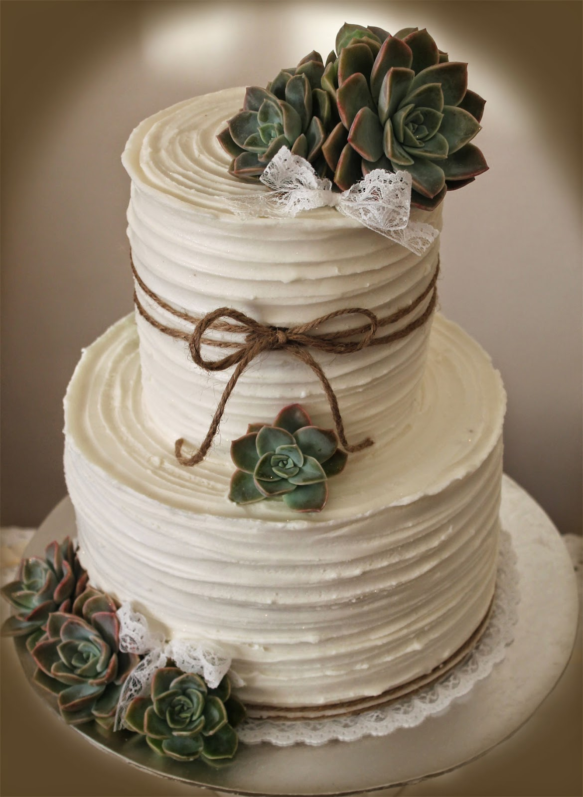Delana's Cakes: Rustic Wedding Cake with succulents