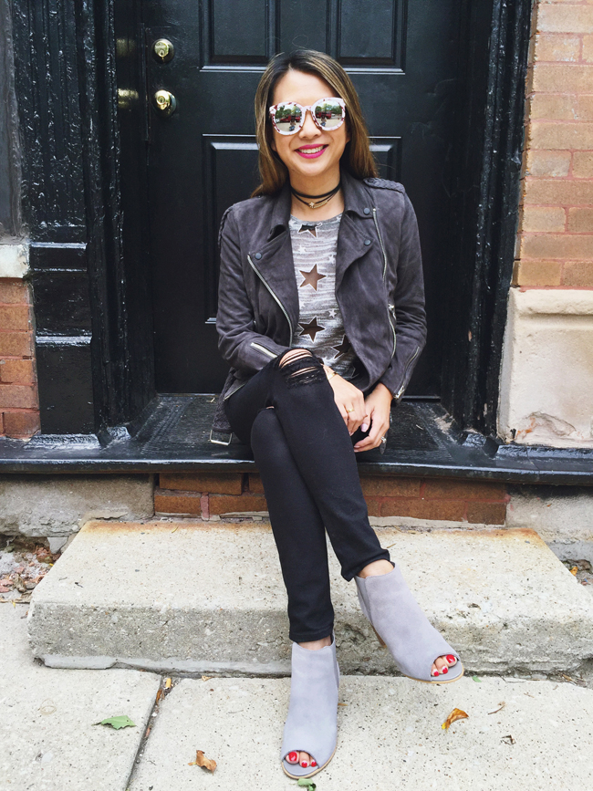 Chicago Fall Style Blogger, Sueded Moto All Saints Jacket