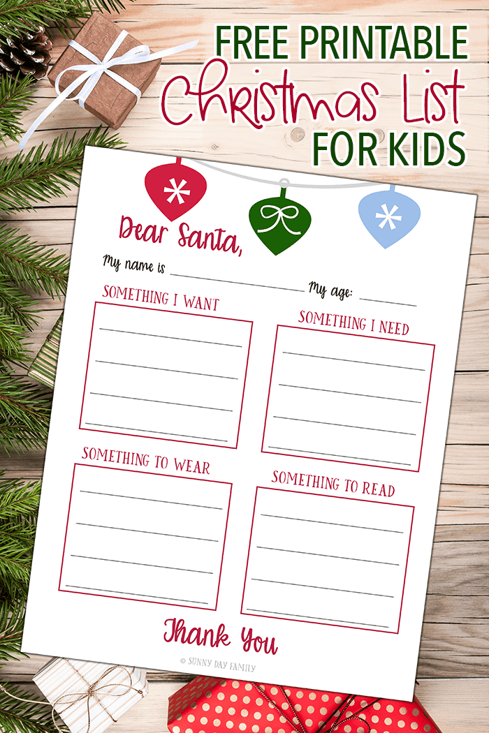 Free Printable Christmas List For Kids! Use The Something I Want, Something  I Need  Free Printable Christmas Lists
