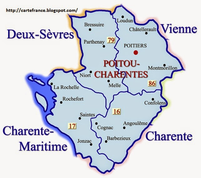 Carte Poitou Charentes Departement   Carte France ...