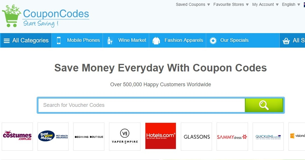 Voucher codes for online shopping