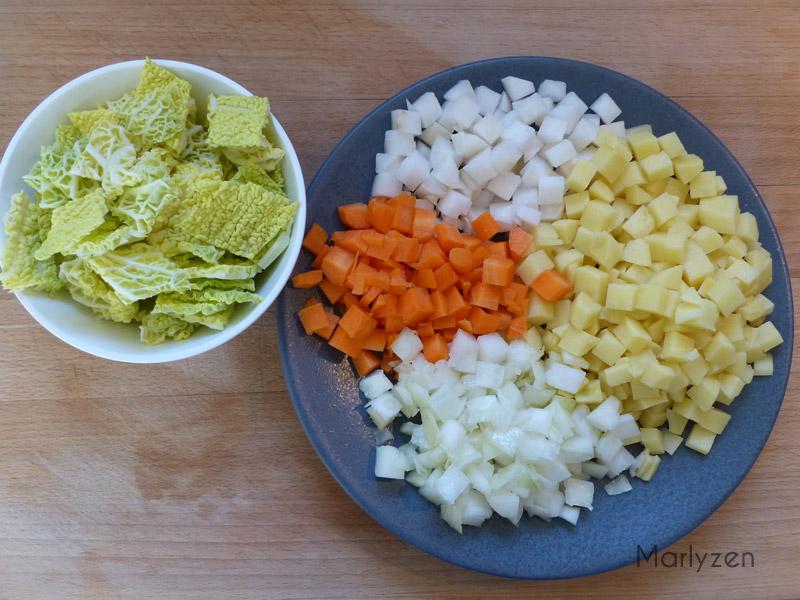 Coupez les légumes.