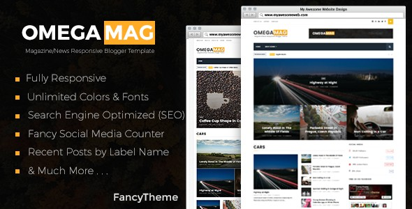 OmegaMag is a latest Responsive Magazine and News Blogger Template Built for creative Bloggers, with a new and exclusive features, so it's compatible with all browsers and very simple to use you can just Drag and drop to build a news/magazine website in a minute. Do awesome content and will do the rest.