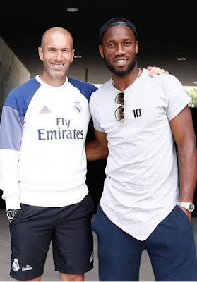 Didier Drogba welcomes Real Madrid's Zinedine Zidane & Benzema to his Canadian club (see photos)