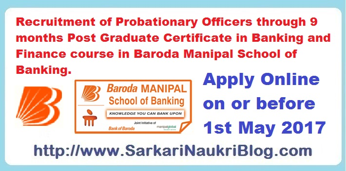 Probationary Officer Recruitment by Bank of Baroda Manipal PG ...