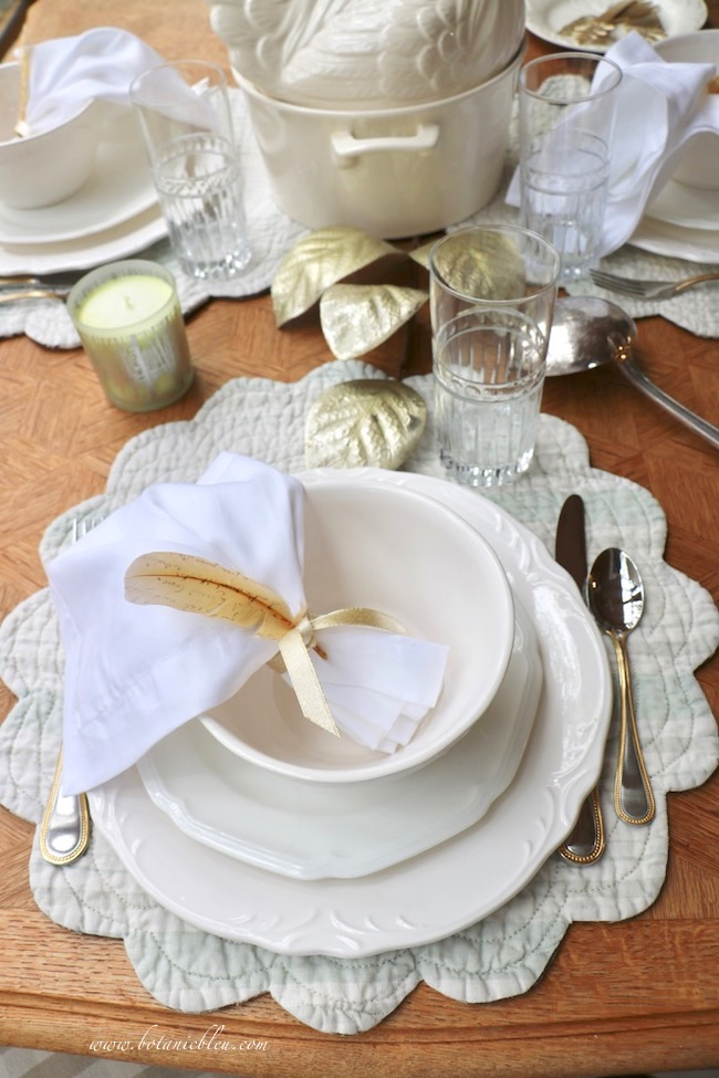 French Country Thanksgiving place setting for soup