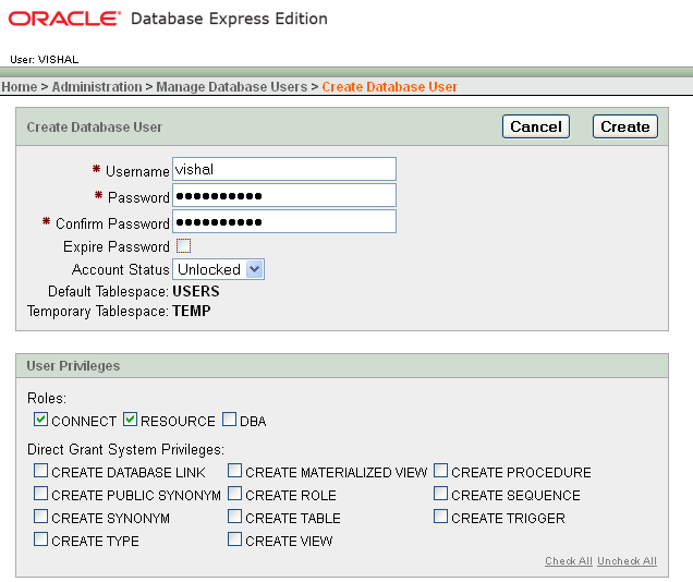 how to create a new user in oracle 10g