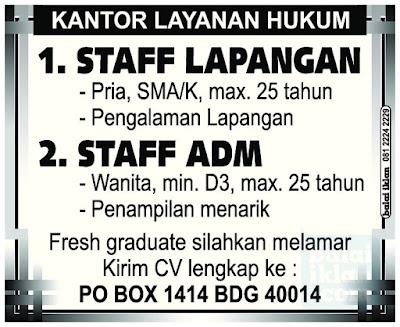 Lowongan Kerja Staff Konsultan Hukum Bandung