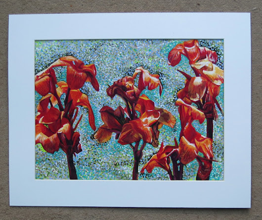 A painting of Canna lilies.