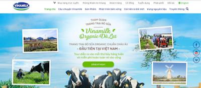 Giao diện trang web của Vinamilk