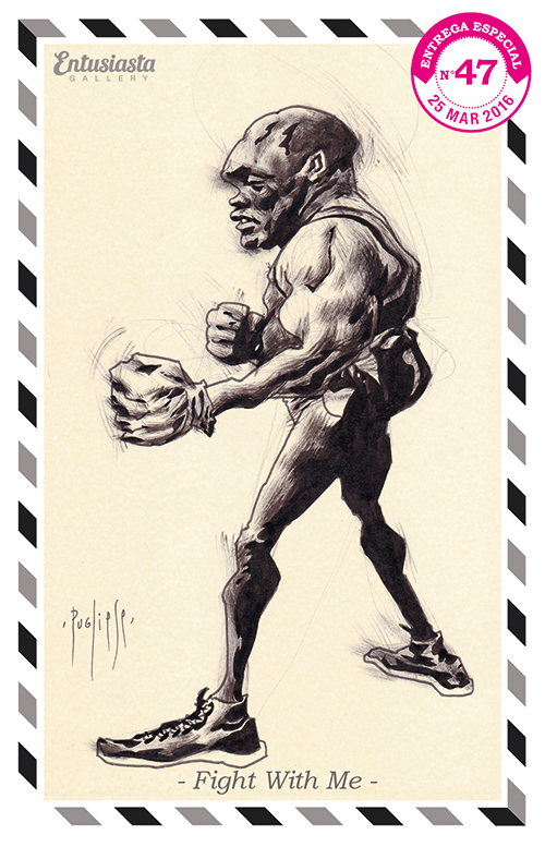 An athletic man elegantly drawn in a caricature style with ink by artist David Pugliese.