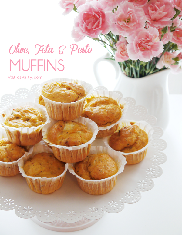 Feta, Olive and Pesto Muffins Recipe - BirdsParty.com