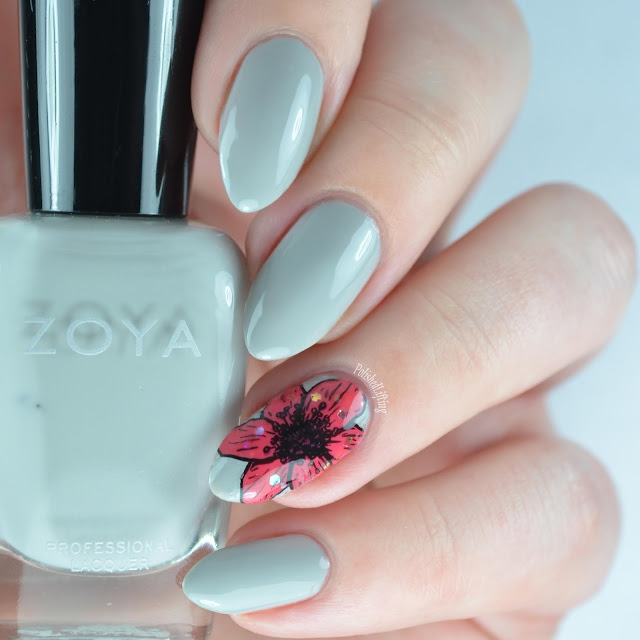 floral nail art with gray and pink