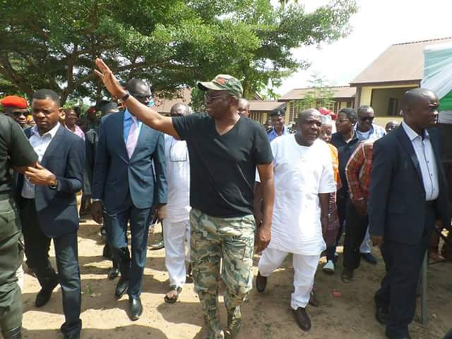 Hit or miss? Governor Fayose rocks military camouflage