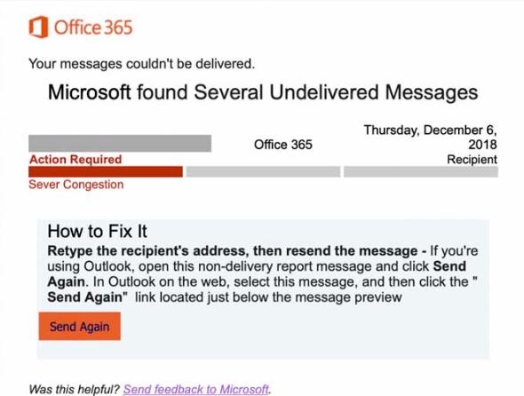 هجوم تصيد إحتيالي جديد يتظاهر بأنه رسالة غير قابلة للتوصيل في Office 365