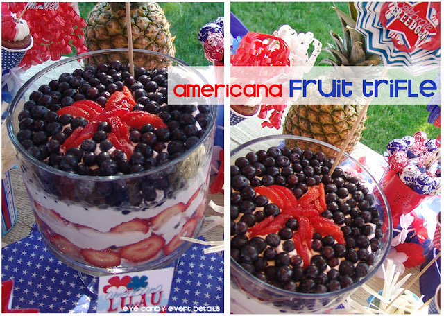 americana fruit trifle, strawberries, blueberries, 4th of july dessert