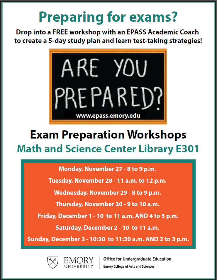 drop into a free workshop with an academic coach to create a 5 day study plan and learn test taking strategies