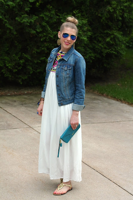 embroidered white maxi dress, jean jacket, gold sandals, turquoise clutch