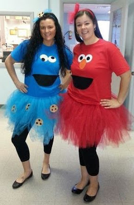 Cookie Monster and Elmo Ladies Costumes