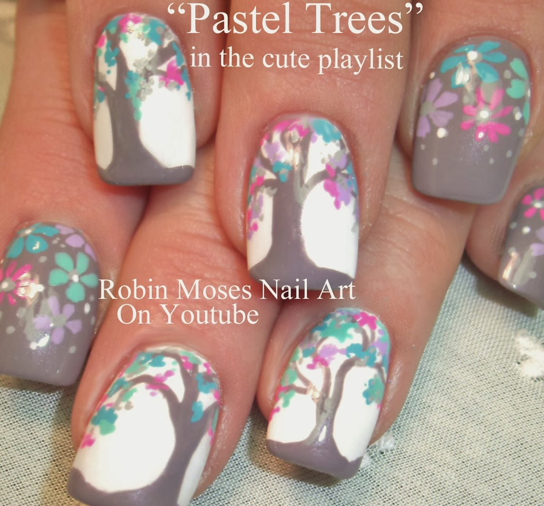 Nail Art By Robin Moses Owl Design Pastel Trees Owl Nail Art