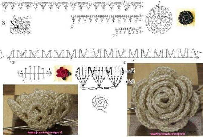 Patron Crochet Flor Rosa