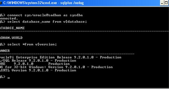 oracle sqlplus version 9.2.0.1.0