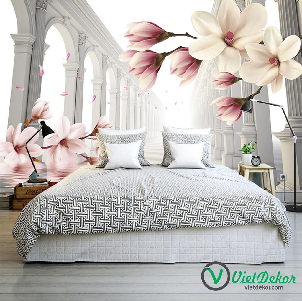 Tranh dán tường 3d hoa mộc lan đỏ trang trí phòng ngủ