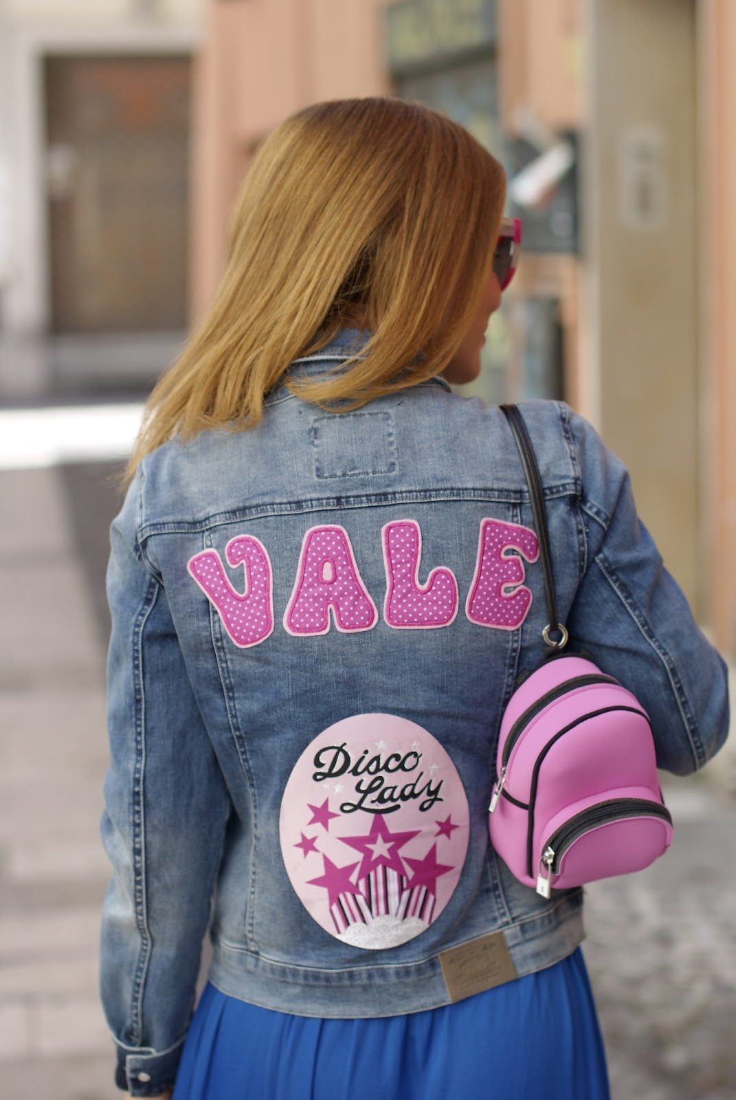 Vale and Disco Lady patch on denim jacket on Fashion and Cookies fashion blog, fashion blogger style
