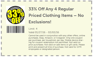 33% Off Any 4 Regular Priced Clothing Items - No Exclusion!