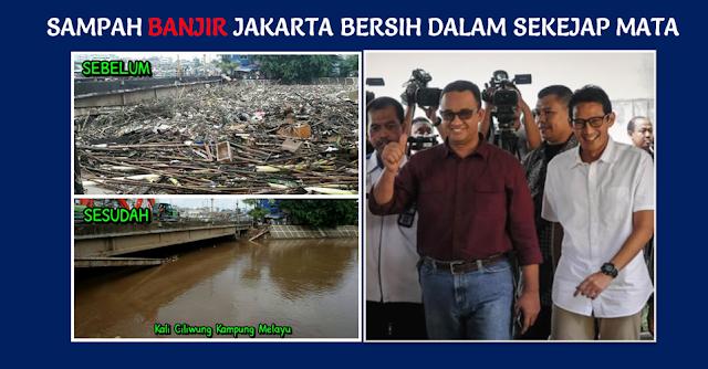 Sampah Banjir Jakarta Bersih Dalam Sekejap Mata, Ini Foto-fotonya