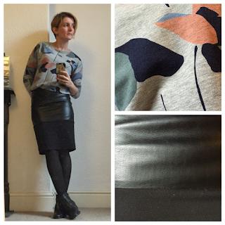 Boden print sweatshirt and Warehouse pleather pencil skirt