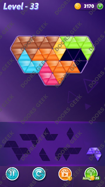 Block! Triangle Puzzle 7 Mania Level 33 Solution, Cheats, Walkthrough for Android, iPhone, iPad and iPod