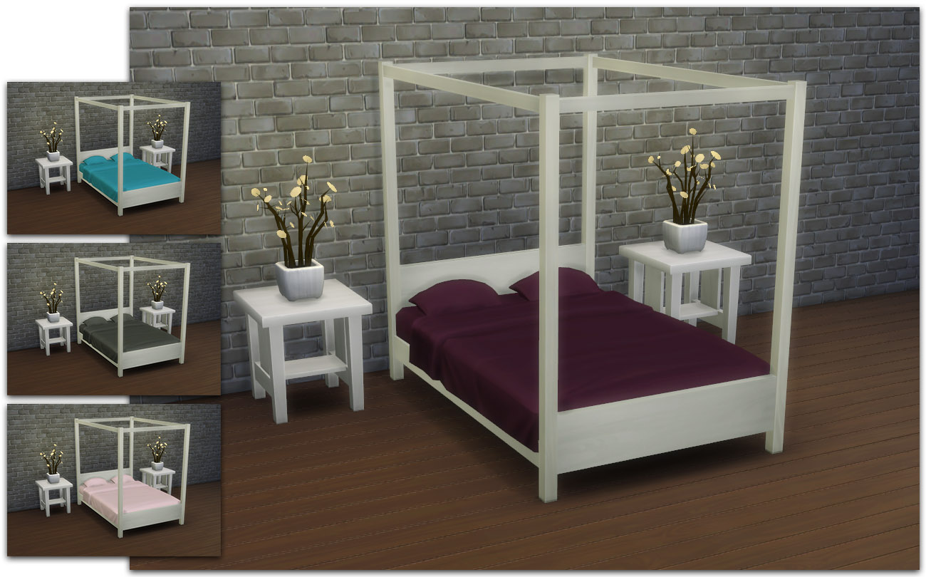 My Sims 4 Blog: Modern Four-Poster Double Bed by IgnorantBliss